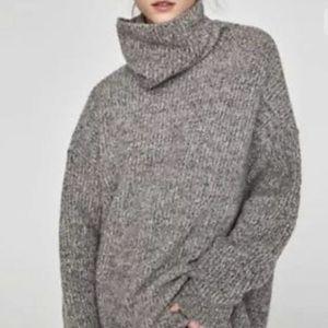 Zara Oversize Turtleneck Gray Sweater Women Medium